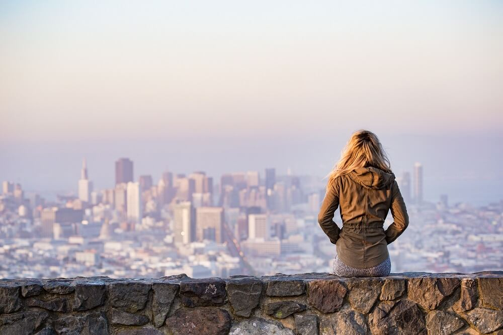 woman looking a city view