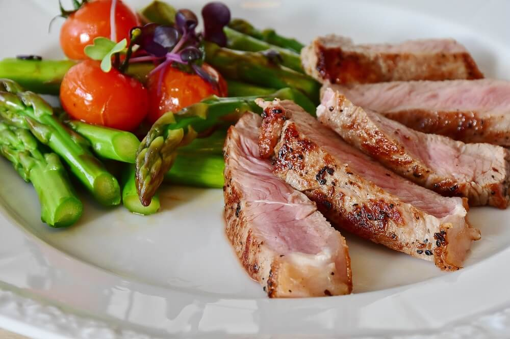 plate of meat and vegetables
