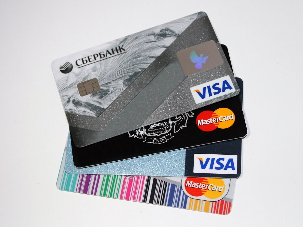 credit cards laying on table