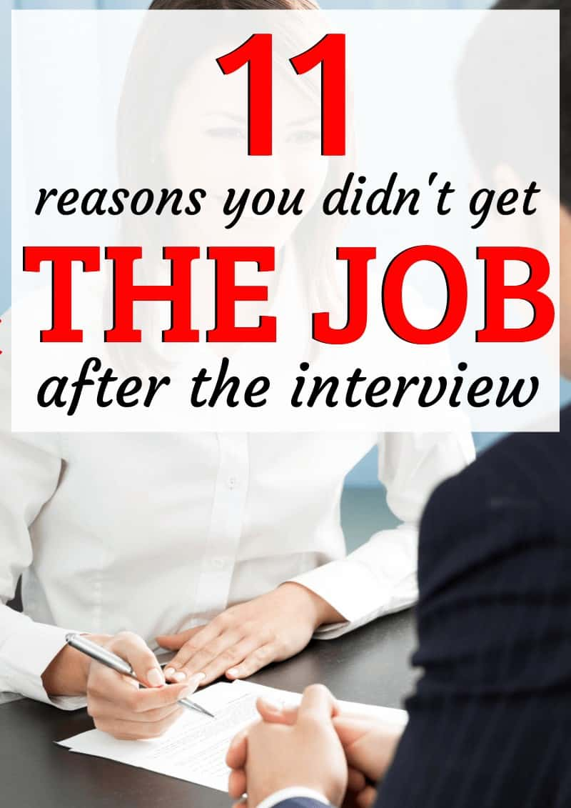 Reasons You Didn't get the Job / Why didn't I get called back after the interview?