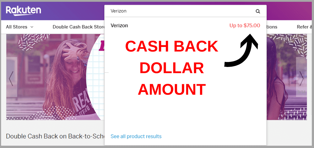 cash back dollar amount of rakuten