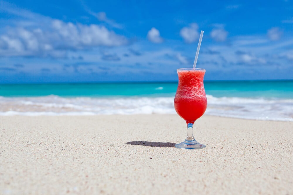 cocktail sitting on beach