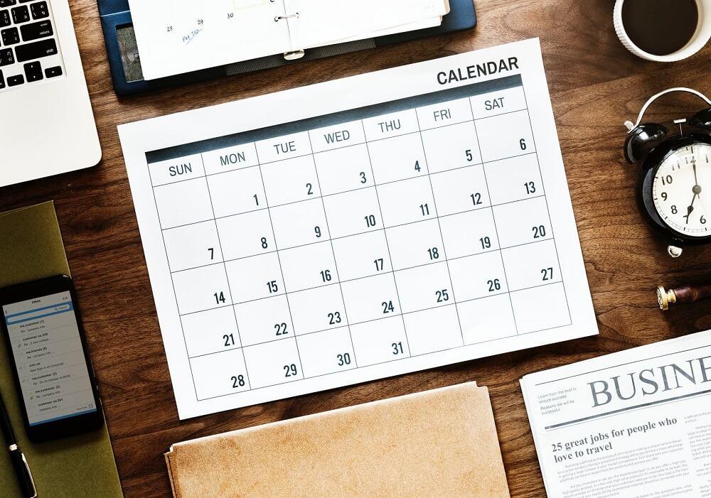 calendar lying on desk