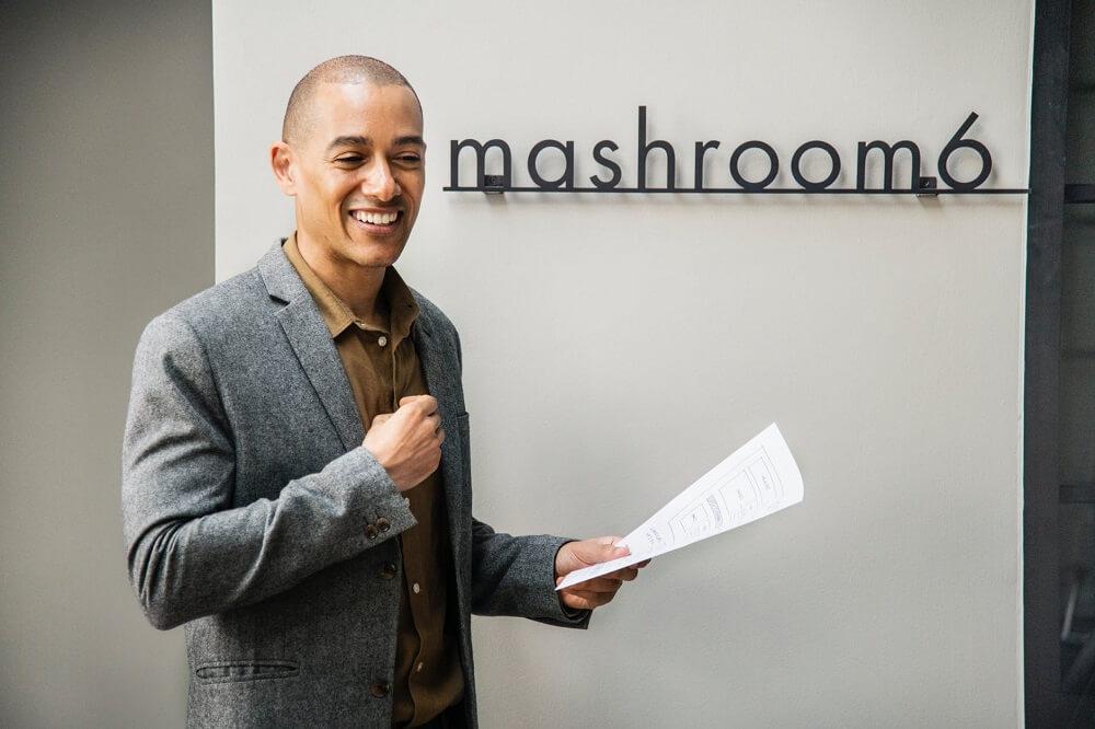 man giving presentation at work