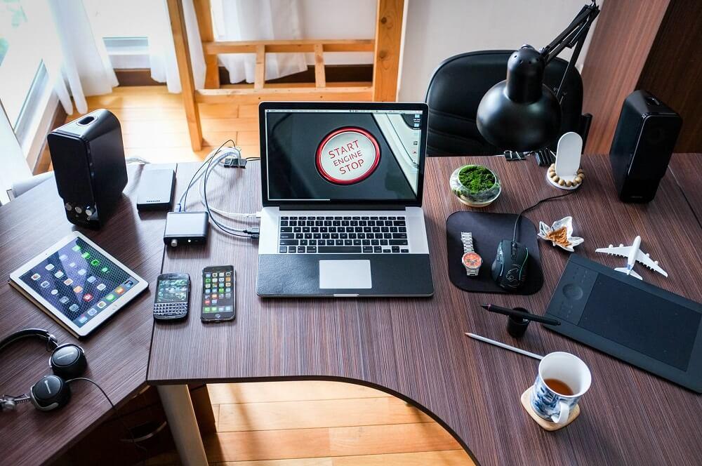 electronics sitting on desk