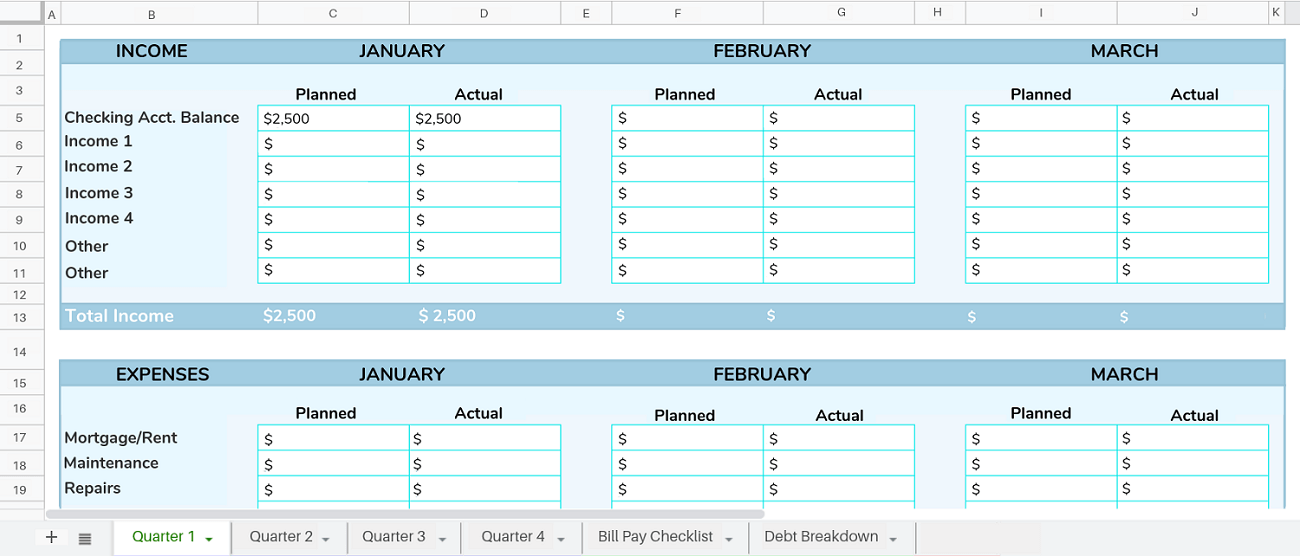 budget for google sheets