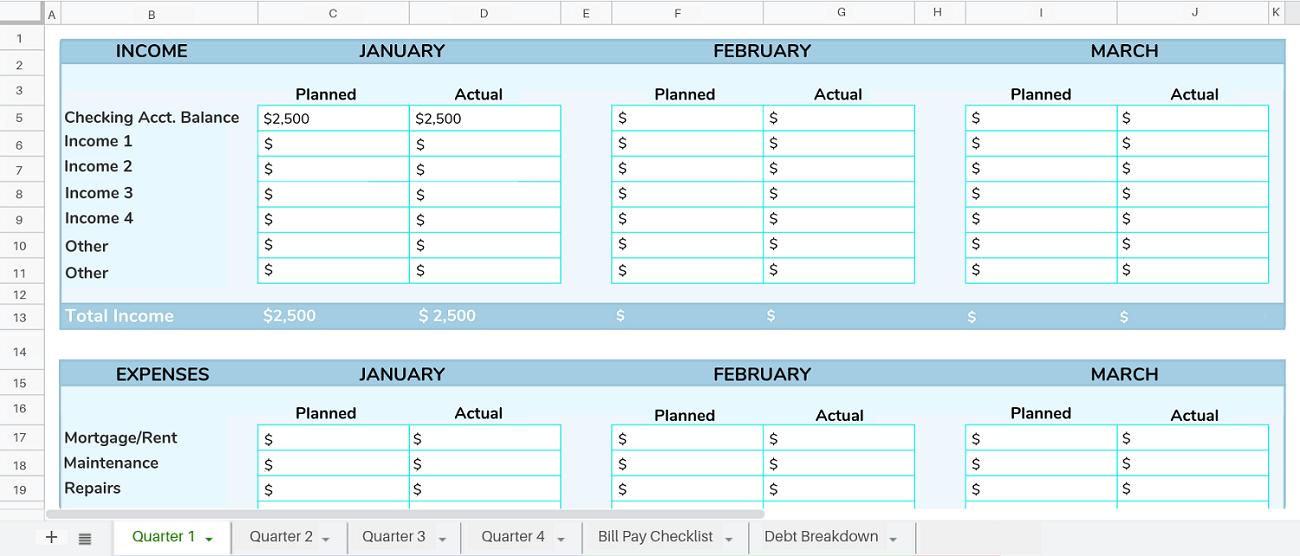 savings tracker example