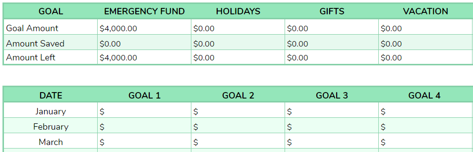 savings account spreadsheet