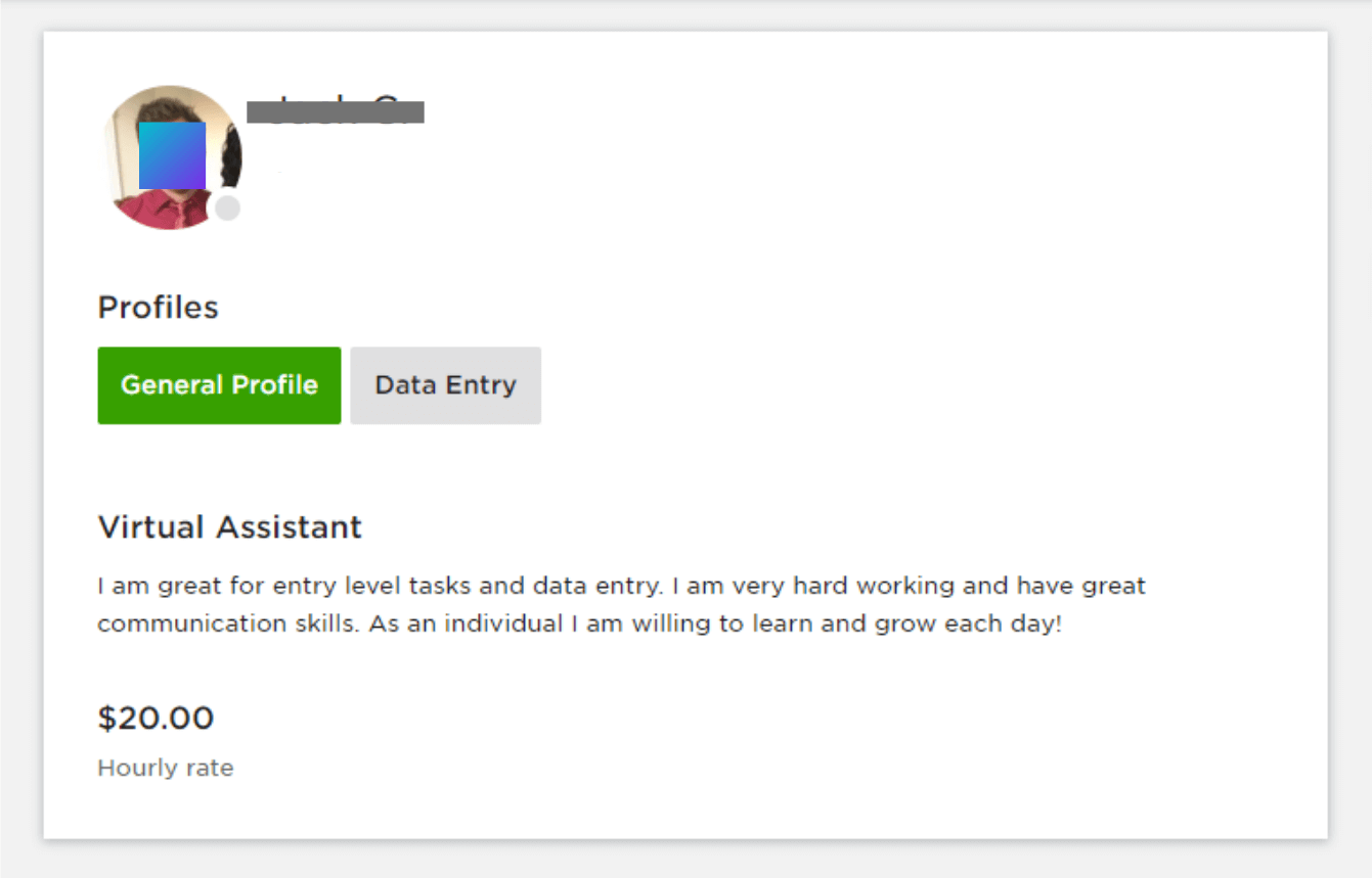 example of a virtual assistant profile