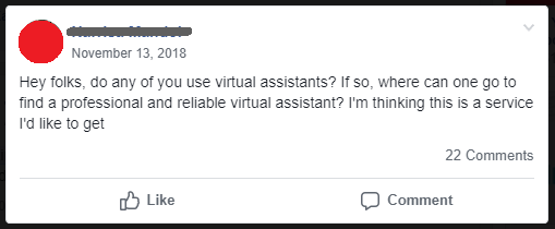 virtual assistant job posting