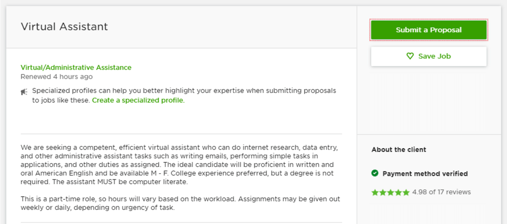 example of a virtual assistant job posting