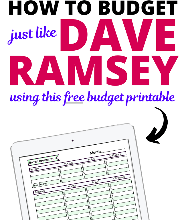 Are you interested in the Dave Ramsey budgeting method? Maybe you're using the Dave Ramsey baby steps and you're in need of a free budget printable? We've got your back. Here's how you can budget like Dave Ramsey with a free budget worksheet. Includes Dave Ramsey Tips, Dave Ramsey plan, Dave Ramsey budget, how to budget, budget percentages, Dave Ramsey baby steps, budgeting for beginners. #daveramsey #money #budget #moneytips #budgettips #budgeting #budgetinghacks #moneyhacks #budgethacks #debt