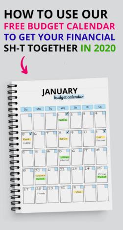 Budget calendar pin