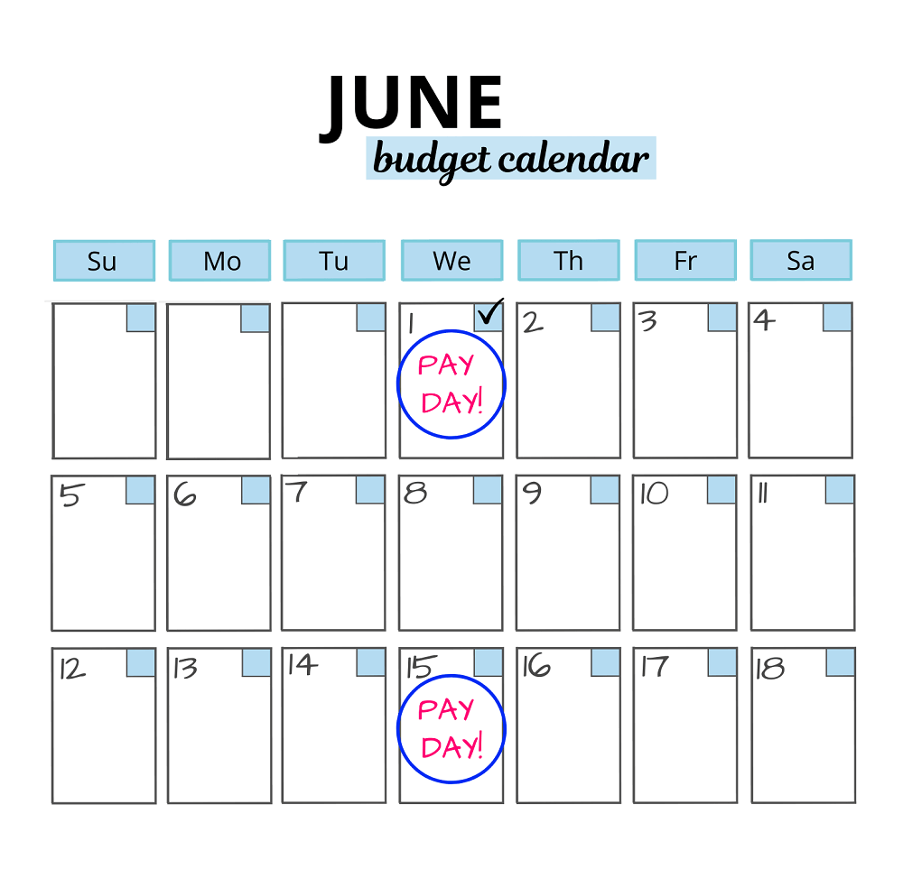 example of tracking paychecks using a budget calendar