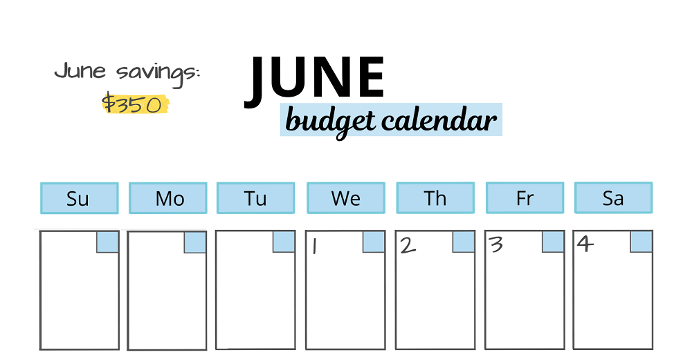 example of adding savings to a budget calendar