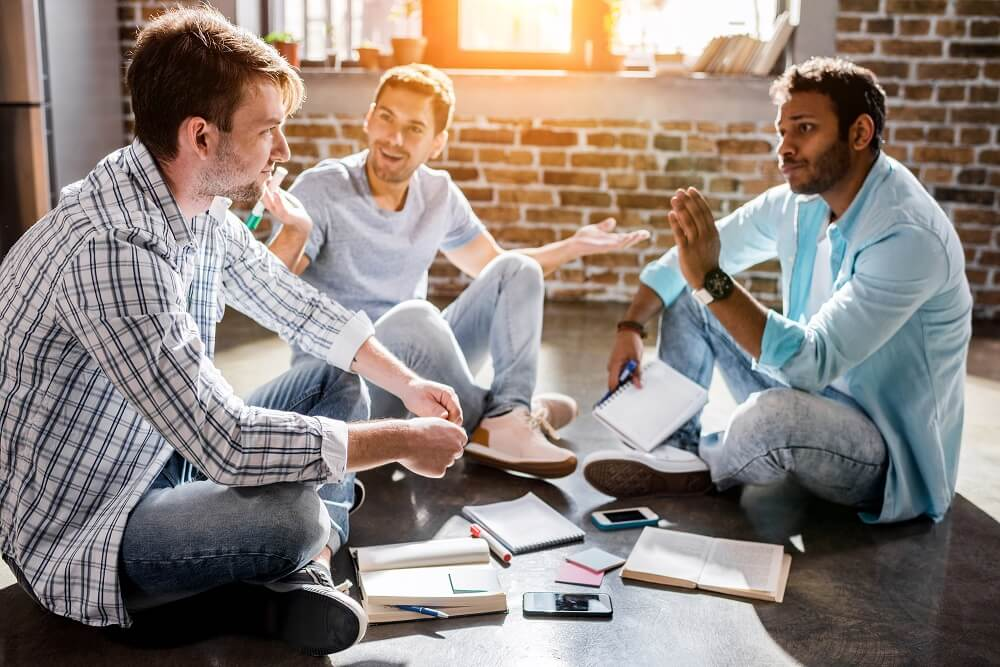 group of men talking