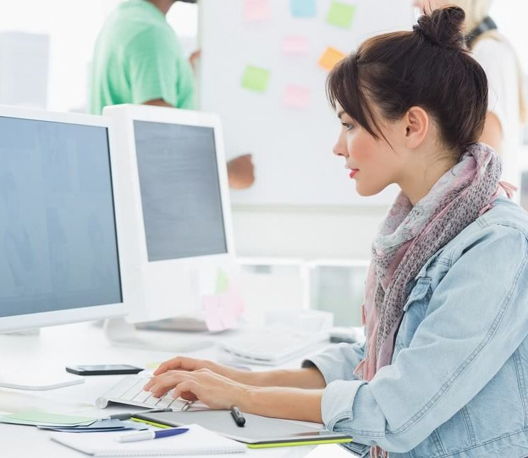 woman typing on laptop - work performance article